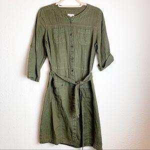 Caslon 100% Linen Cargo button down shirtdress XS